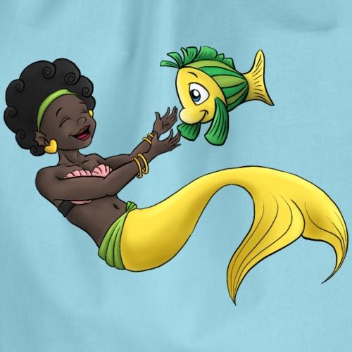 Schwarzes Mädchen als Meerjungfrau - Turnbeutel
