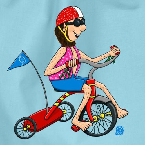 Uffi fährt Dreirad - Turnbeutel