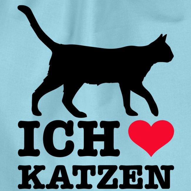 Ich liebe Katzen mit Katzen-Silhouette