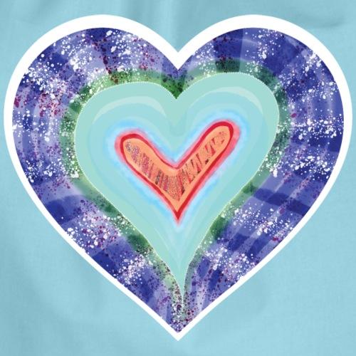 HeartSpread 18Little red heart in a green garden - Drawstring Bag