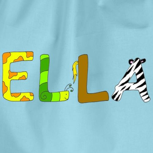 Name Ella mit Tierbuchstaben - Turnbeutel