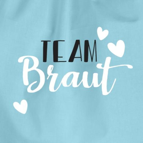 Team Braut - Schwarz Weisser Schriftzug - Drawstring Bag