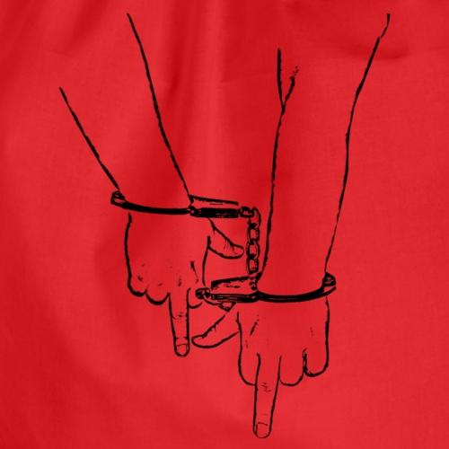 Zwei Mittelfinger in Handschellen schwarz fu 2 - Turnbeutel