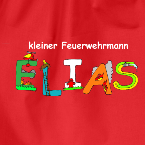 Elias tolles Feuerwehr Motiv mit Namen - Turnbeutel