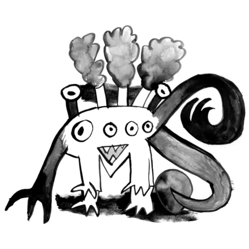 Mr STEAM - Dampfmonster- black&white für heyKids - Turnbeutel