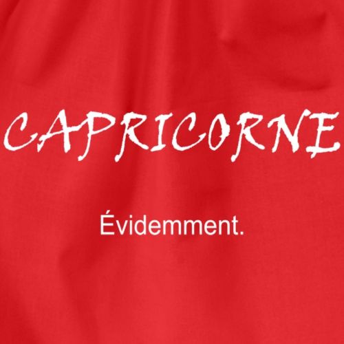 Capricorne évidemment, blanc - Drawstring Bag
