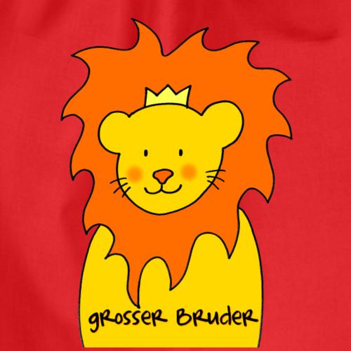 Grosser Bruder liebevolles Motiv mit Löwe - Turnbeutel