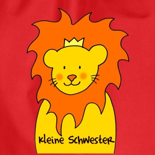 Kleine Schwester liebevolles Motiv mit Löwe - Turnbeutel