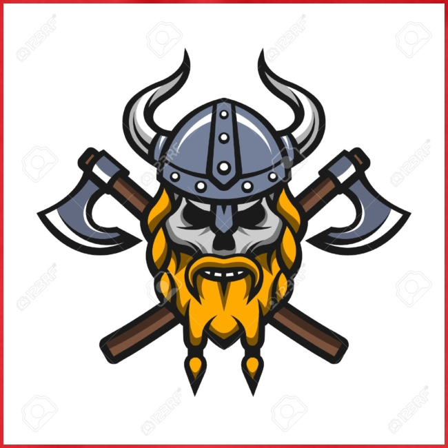 Viking Warrior Skull and Axes badge logo