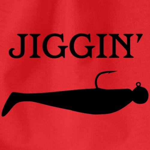 jiggin, (loodkop met shad) design voor sportvisser - Drawstring Bag