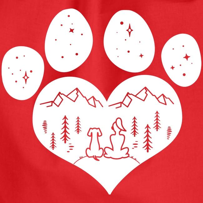 Vorschau: dog girl outdoor pawheart - Turnbeutel