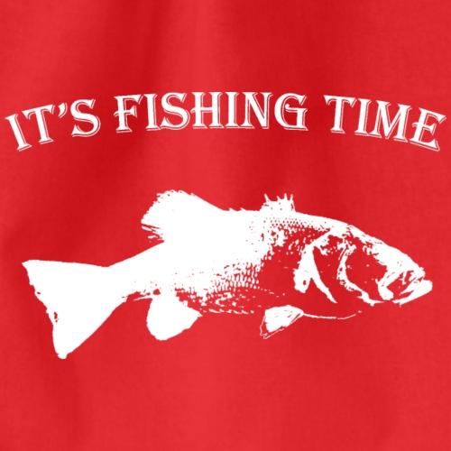 fishingtime - white design - Drawstring Bag