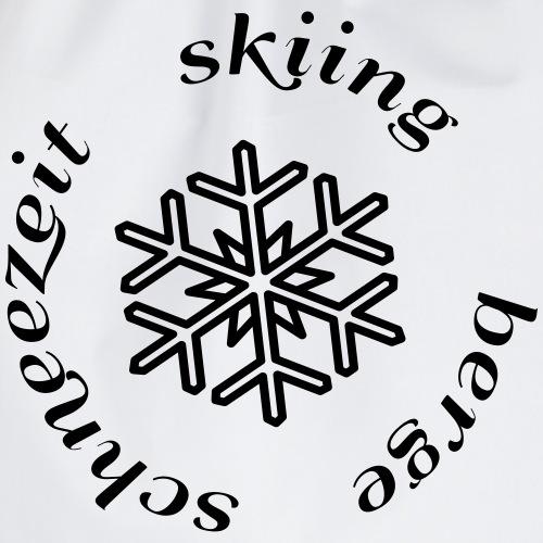 mountains snow time skiing - Drawstring Bag