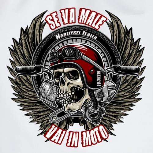 Se va male, vai in moto - Teschio con casco rosso - Sacca sportiva