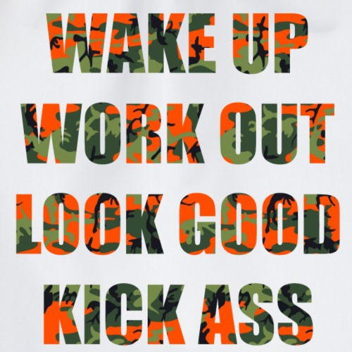 WAKE up and Work out Camo2 - Turnbeutel