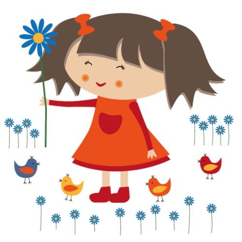 Happy Meitlis - Vögel und Blumen - Turnbeutel