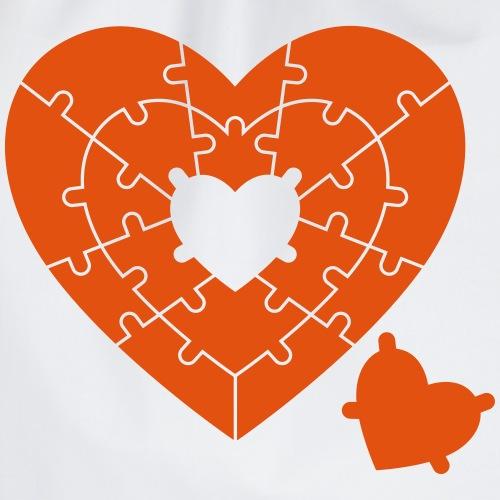 Heart Puzzle - Drawstring Bag