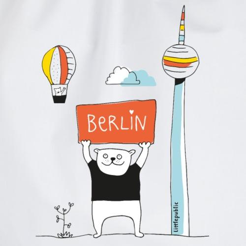 Berliner Bär + Fernsehturm   farbig   littlepublic - Turnbeutel