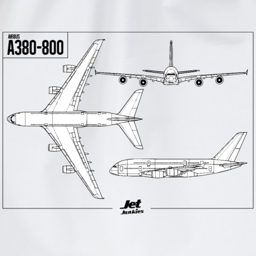 Jet Junkies A380 Blue Print - Drawstring Bag