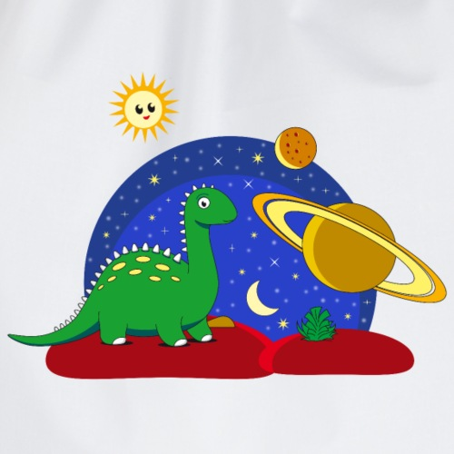 Dino on Space Dino im Weltall Saturn Mond - Drawstring Bag