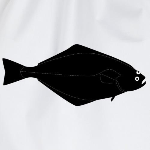 Heilbutt vollformat schwarz - Turnbeutel