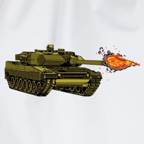 Leopard Kampfpanzer mit Muendungsfeuer Bundeswehr - Turnbeutel