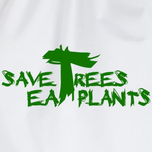 Eat plants, Green - Drawstring Bag