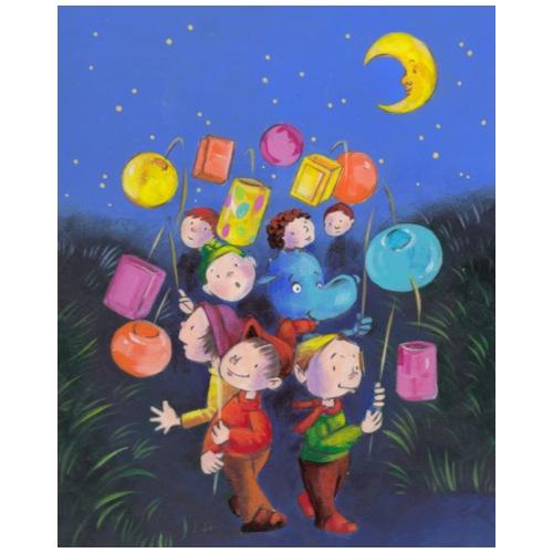 Drache Siggi und die Kinder beim Laternenumzug - Turnbeutel