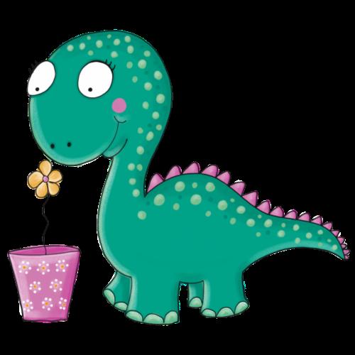 Kleiner Dinosaurier mit Blumentopf - Turnbeutel