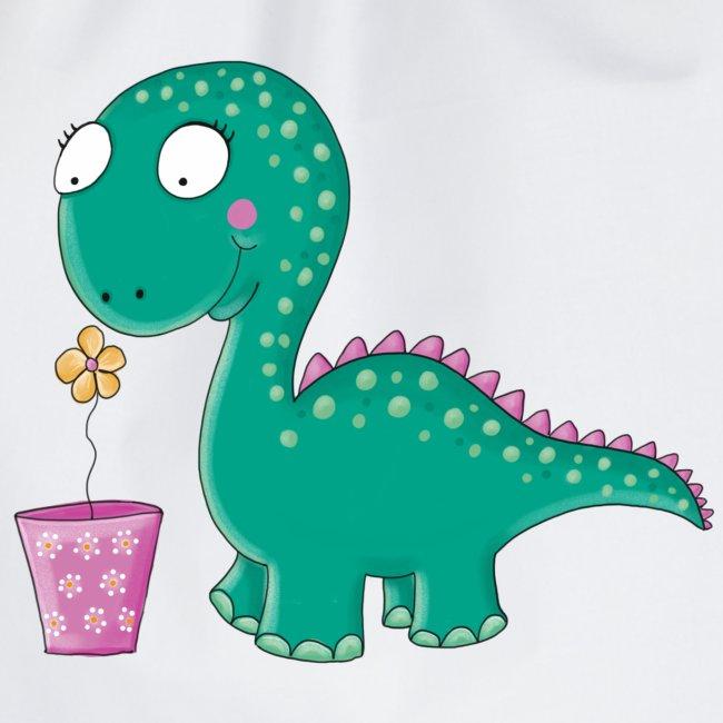 Kleiner Dinosaurier mit Blumentopf