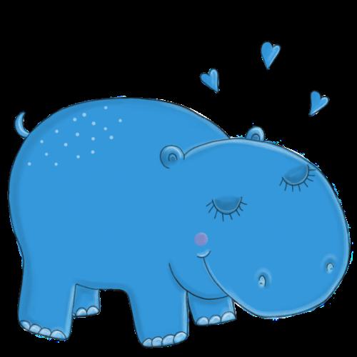 Kleines blaues Nilpferd - Turnbeutel