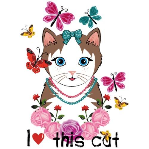 i love this cat - Drawstring Bag
