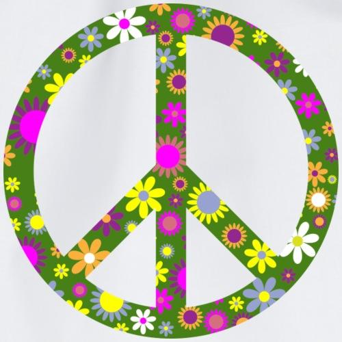 Peace Zeichen mit Blümchen - Turnbeutel