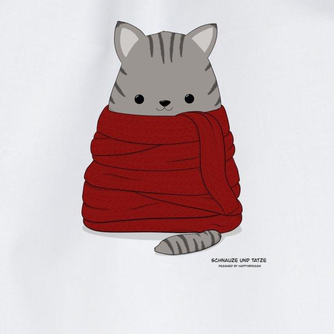 Katze im Winter mit Schal