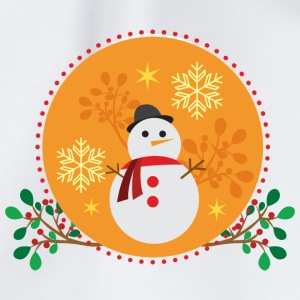 Snowman orange design - Drawstring Bag