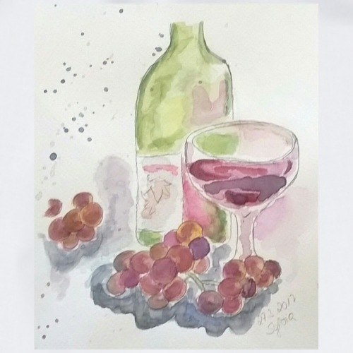 Stilleben mit Wein - Turnbeutel
