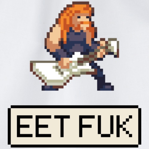 EET FUK - Metal guitar frontman in pixelart design - Drawstring Bag