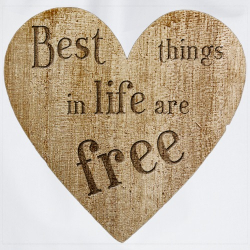 Wood Heart - best things in life are free - Turnbeutel