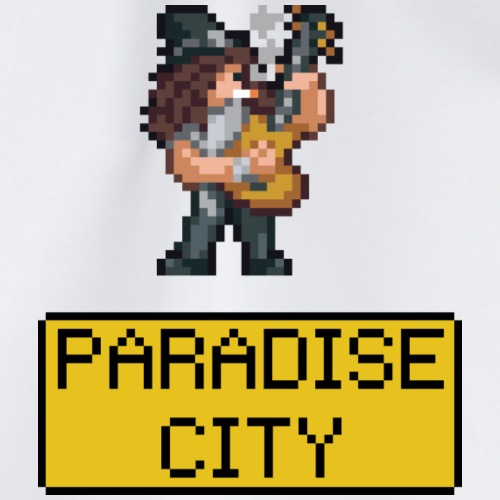 Guitarist with cylinder - paradise in the city - Drawstring Bag