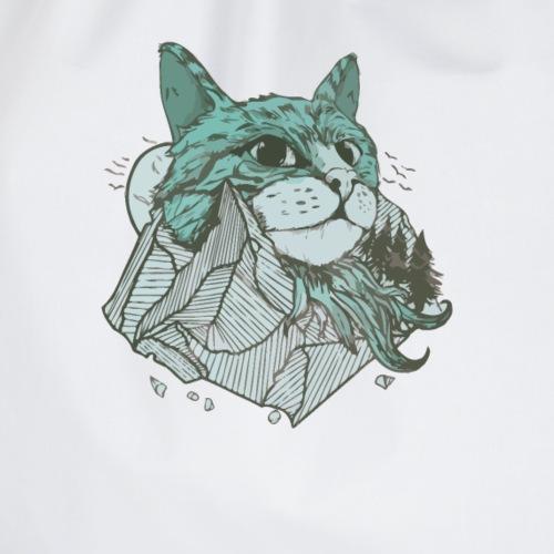 Katzen Berg mit Katze Kopf und Felsen - Turnbeutel