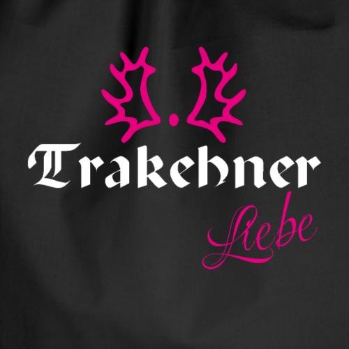 Trakehner Liebe weiss mit pink - Turnbeutel
