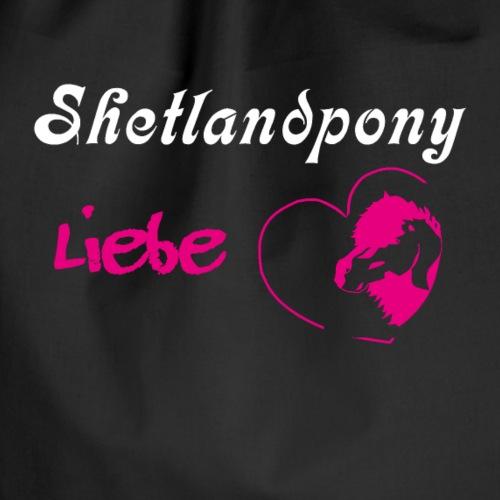 Shetlandpony Liebe mit weiss und pink - Turnbeutel
