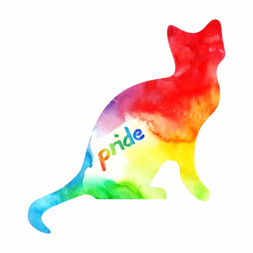 Rainbow Watercolour Pride Kitty - Drawstring Bag