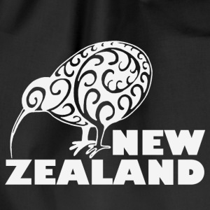 New Zealand: Kiwi with lettering in white - Drawstring Bag