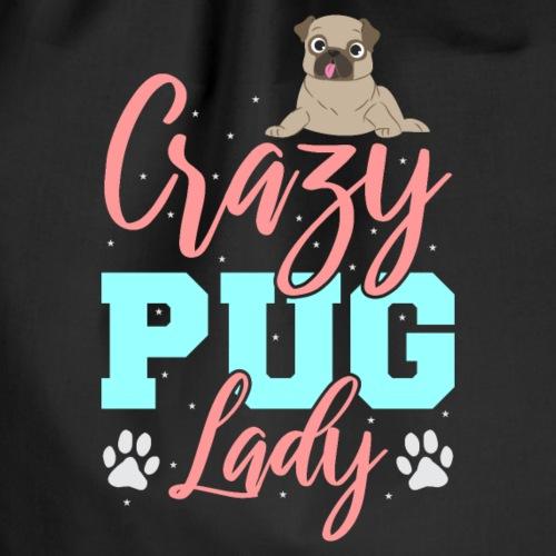 Crazy Pug Lady Pug - Drawstring Bag