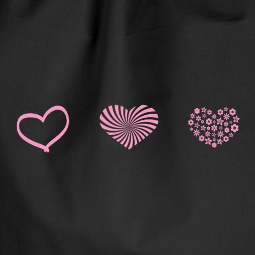 Rosa hjärtan söt motiv - Gymnastikpåse