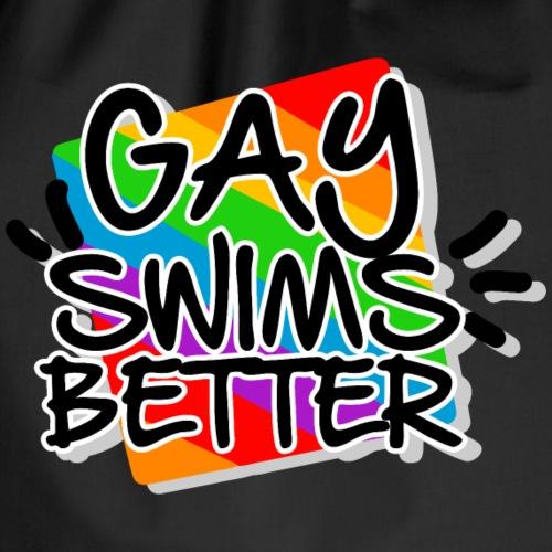 Gay swims better - rainbow flag - Turnbeutel