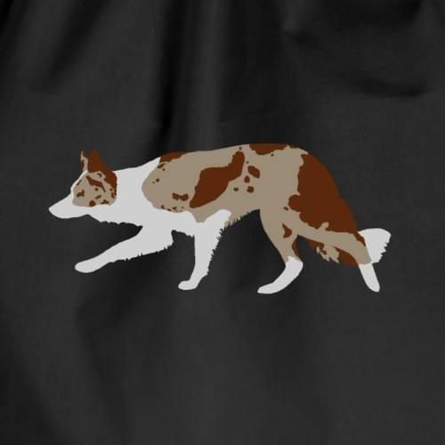 Border Collie (Red Merle and White) - Drawstring Bag