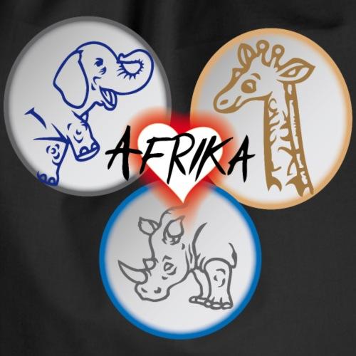 Afrika mit Elefant, Giraffe und Nashorn - Turnbeutel