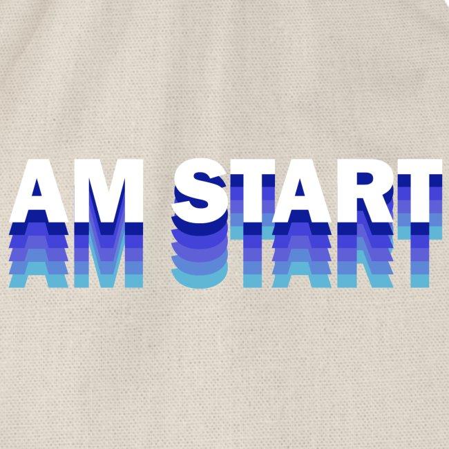 am Start - blau weiß faded